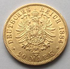 Germany (Prussia) - 20 Mark 1884 A - Wilhelm I - gold