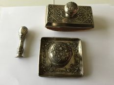 Silver Art Nouveau Set Including an Inkwell and its Tray, a Wax Seal Stamp, and a Blotter