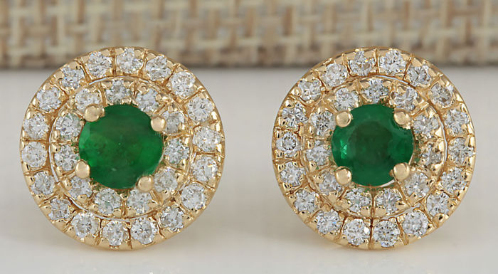1.90 Carat Emerald 14K Solid Yellow Gold Diamond Earrings - Face Measures: 12.40x12.40mm *** Free Shipping *** No Reserve ***