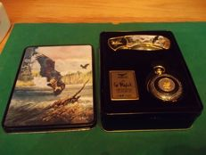 "Franklin mint - Ted Blaylock Collectors pocket watch and knife set ""Save the Eagle"" in metal box - Limited Edition 1769/5000  - Very good condition"