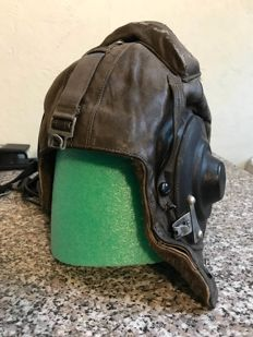 Rare Soviet tanker helmet, black leather and lining in fur.