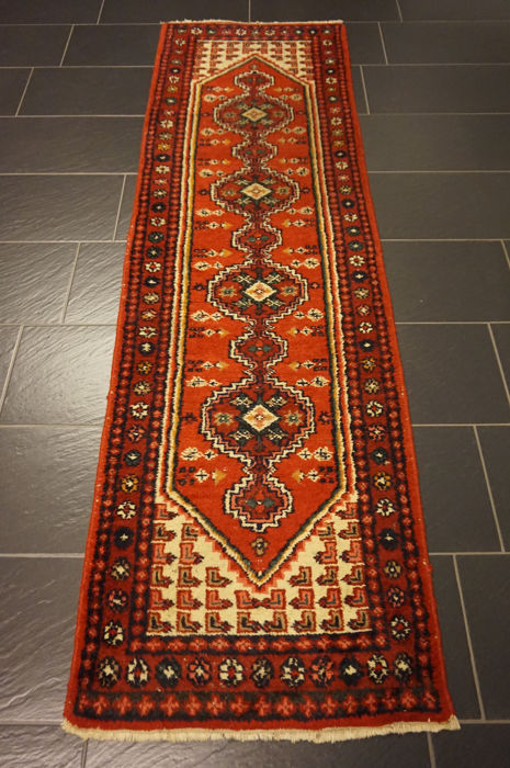 Oriental carpet Indo Tabriz runner 75 x 245 cm Made in India at the end of the last century