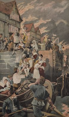 A.W. (19th/20th century) - Escape from the Fire Of London, 1666.