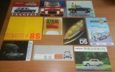 Lot of French car brochures from the sixties and seventies Citroën Panhard Peugeot Renault Simca