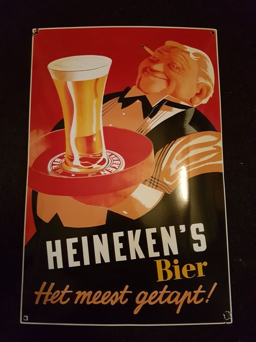 Enamel Heineken Beer sign, 1 from a series of 3