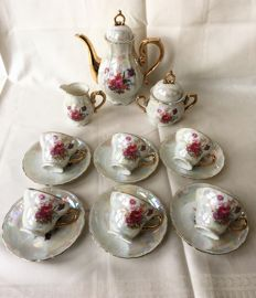 Versailles Manufacture - gold-plated mother of pearl lustre glaze porcelain mocha service for 6 people