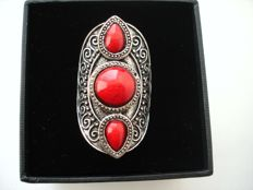 Vintage 1970s – Adjustable Huge Cocktail Cluster Ring with Coral red lucite cabochons – No Reserve