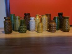 14 x West Germany retro relief vases