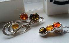 "Set - Brooche ""Note"" & Pendant & Chain 45 cm - natural Baltic amber - silver 925 - no pressed - UV test"