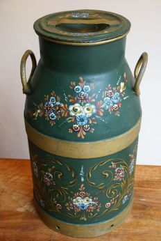 Dutch Frisian large milk churn traditional painted