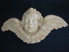Large winged angel made of Carrara white marble - Italy - 19th century