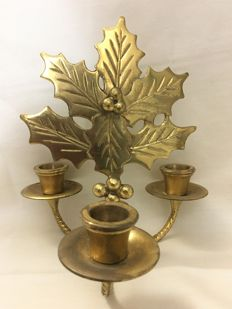 Stunning solid brass Art Nouveau christmas low 3 candle candleholder for Christmas dinner