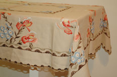 Rectangular tablecloth for 4-6 people - 160x120 / crocheted by hand