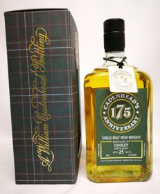 "25 years old ""Cooley "" Irish Single Malt Whiskey by Cadenhead's 175th Anniversery 51.3% abv. - 1 of 174 bottles."