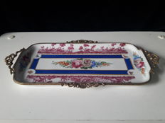 Limoges (?) - Porcelain tray decorated with bronze fittings - Ca. 1900 - France