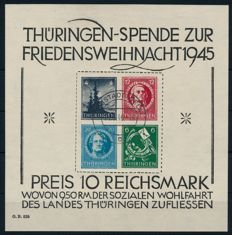 Soviet zone - Thüringen - 1945 - Christmas block on cardboard, Michel block 2 x (II)