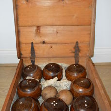Antique Set of 8 Lignum Vitae Lawn Bowls by Lunn & Co. Lunn & Co. of Horncastle in its wood case - England- ca 1880