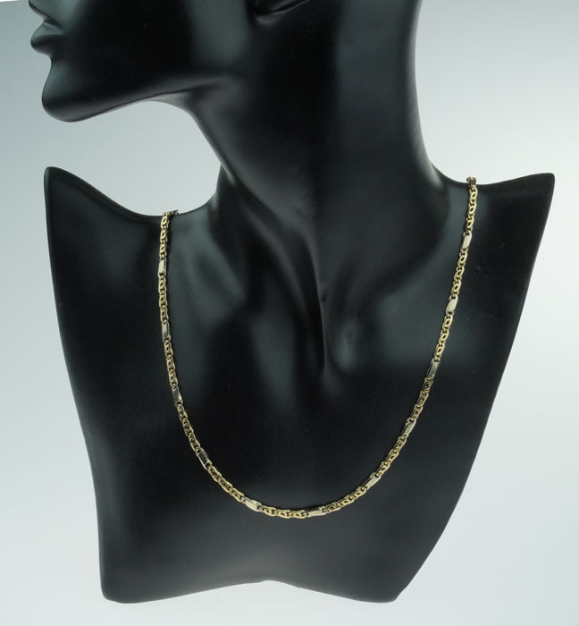 14 kt gold bicolour necklace - solid fantasy links - unisex