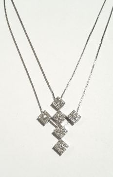 Salvini - Double Chain With Cross, Girocollo elegante a doppia catena con croce - MADE IN ITALY in oro bianco 750/000 con diamanti taglio brillante CT 0,66