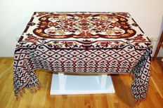 Rectangular tablecloth for 4-6 people 140x210cm / hand-knotted fringe