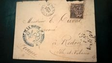 France 1887 - cover sent to Ille et Vilaine with blue dollar anchor seal
