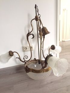 Three-armed Bronze and Facet Cut Crystal Hanging Lamp with Three Light Points and a Centre Bowl