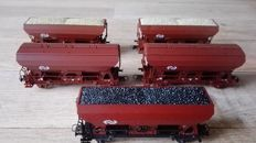 Roco H0 - 46134/4335C/66016 - Five Saddle bottom / Self-discharging wagons and side unloaders of the NS
