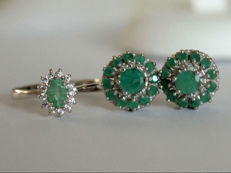 Silver ring and earrings with natural Emeralds and Topazes Parure