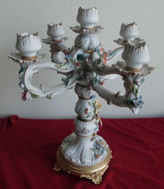 Porcelain Capodimonte candle holder for five candles, mid 20th century, Italy