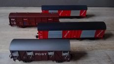 Roco H0 - 46223/46273/4387A/4373 - Four postal wagons of the NS
