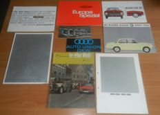 Partij autofolders Duitse merken jaren 60 en 70 Lot of German car brochures from the sixties and seventies Audi BMW Mercedes DKW OSI