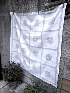 Beautiful hand embroidered tablecloth in Sicilian drawn thread embroidery
