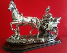 Spectacular silver plated figure of a beautiful lady with her child on a dream-like carriage and a beautiful horse, 20th century