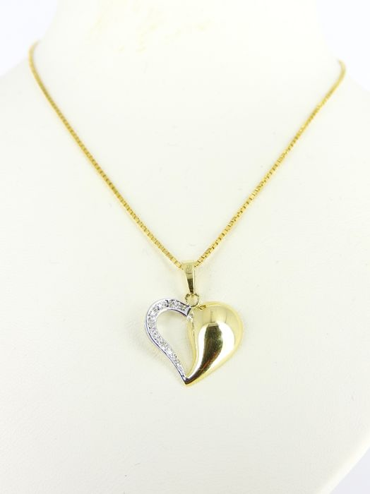 14 kt gold necklace and bi-colour pendant set with +/- 0.05 ct diamond - 51 cm - 5.5 grams