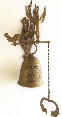 Copper/brass monastery bell with Latin text and beautiful ornaments including angel and fish, circa 1950 - Holland