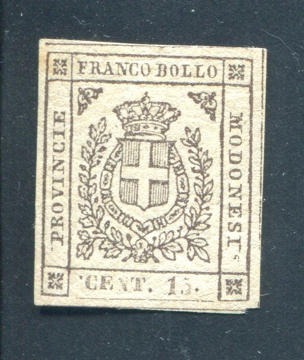 "Modena - 1859 Grey 15 Cent stamp - Variety with full-stop before the ""C"" Sassone no. 14e"