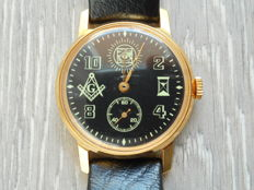 Pobeda Mason - vintage Russian mechanical watch - gold plated - Masonic symbols