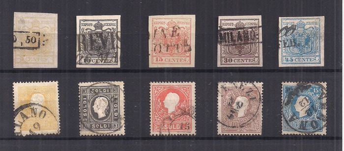 Lombardy Venetia 1850/1863 – Small selection of stamps – Sass. No.  1/5 and 28/32.