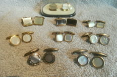 A collection of antique and vintage mother-of-pearl cufflinks, from c. 1920