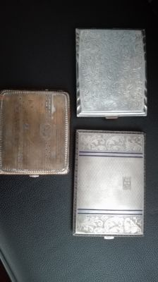 Lot of 3x cigarette cases - nickel silver and other metal - England, first half of the 20th century
