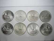 Italy, Republic - 500 lire 'Caravels' from 1958 to 1967 (lot of 8 UNC pieces) - silver