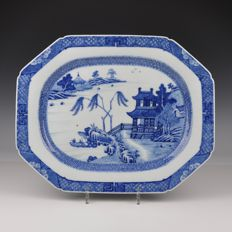 A Blue White Porcelain Dish with Landscape - China