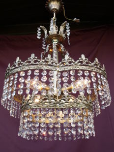 Vintage chandelier / luster / lustre / chandelier / lampadario  with cut glass crystals - France - second half of the 20th century