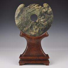A Jade Plaque On Wooden Base - China - Circa 1900