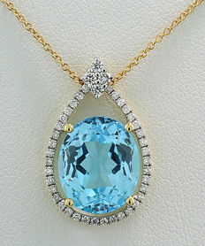 Blue topaz-brilliant necklace 3.95 ct - 750 yellow gold - no reserve price