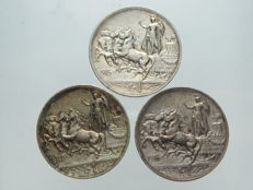 Italy, Kingdom - 1 lira 1915, 1916 and 1917 'Lively Quadriga' Vittorio Emanuele III - silver
