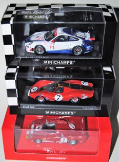 Minichamps - Scale 1/43 - Lot of 3 models: Alfa Romeo, Porsche & Ferrari