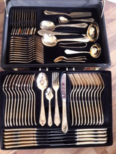 "SBS Solingen ""Wien"" Model - 70 piece complete hard gold plated luxury cutlery set for 12 people - 23/24 karat - 1,000 fine gold - in black original case"