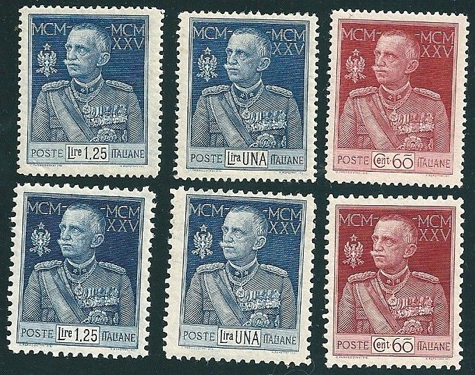 Kingdom of Italy 1925/1926 - King's Jubilee - 25th Year of Reign - Sass. Cat. No.  186/188 + 189/91