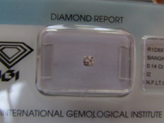 Fancy light, orangy pink natural diamond, 0.14 ct, rare, I2, certified